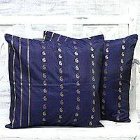 Silk cushion covers, 'Royal Recollections in Blue' (pair) - Artisan Crafted 100% Silk Cushion Covers (Pair)