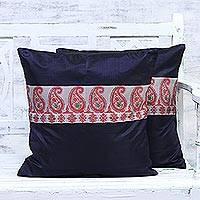 Silk cushion covers, 'Royal Magnificence in Red' (pair) - Handmade in India 100% Silk and Cotton Cushion Covers Pair