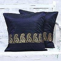 Silk cushion covers, 'Royal Magnificence in Gold' (pair) - Handmade in India 100% Silk and Cotton Cushion Covers Pair