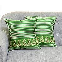 Silk cushion covers, 'Green Grandeur' (pair) - Jacquard Loomed Green Silk Cushion Covers from India (Pair)