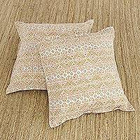 Cotton cushion covers, 'Mughal Charm' (pair) - Two Cotton Cushion Covers with Geometric Motifs from India
