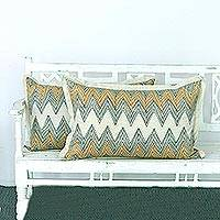 Cotton cushion covers, 'Jaisalmer Dunes' (pair) - Two Cotton Cushion Covers with Zigzag Motifs from India