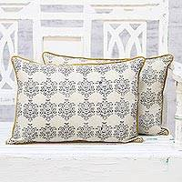Cotton cushion covers, 'Regal Caramel' (pair) - Pair of Hand Block Print 100% Cotton Cushion Covers