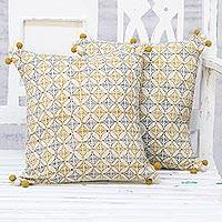 Cotton cushion covers, 'Antique Charm' (pair) - Handmade 100% Cotton Block Printed Cushion Covers Pair