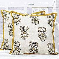 Cotton cushion covers, 'Paisley Pride' (pair) - Cotton Paisley Pattern Antique White Cushion Covers (Pair)