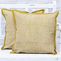 Cotton cushion covers, 'Honey Amber Panels' (pair) - Handmade 100% Cotton Block Printed Cushion Covers (Pair)