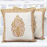 Cotton cushion covers, 'Gold Glamour' (pair) - Pair of Hand Block Paisley Cotton Cushion Covers