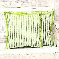 Cotton cushion covers, 'Green Delight' (pair) - Green and White Cotton Printed Dotted Pair of Cushion Covers