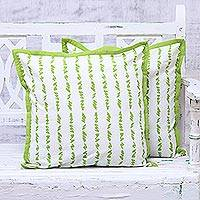 Cotton cushion covers, 'Green Grass' (pair) - Green and White Cotton Printed Grass Pair of Cushion Covers