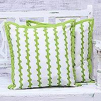 Cotton cushion covers, 'Green Vines' (pair) - Green and White Cotton Printed Vines Pair of Cushion Covers