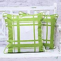 Cotton cushion covers, 'Green Skylight' (pair) - Screen Printed Green 100% Cotton Cushion Cover Pair India