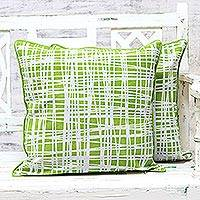Cotton cushion covers, 'Green Woods' (pair) - Green and White Cotton Printed Woods Pair of Cushion Covers