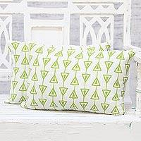 Cotton cushion covers, 'Direction' (pair) - 100% Cotton Green on White Arrow Print Cushion Covers (Pair)