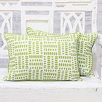 Cotton cushion covers, 'Green Pebbles' (pair) - Handmade 100% Cotton Screen Printed Cushion Covers (Pair)