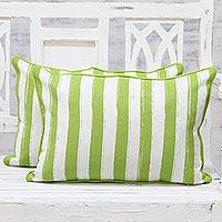 Cotton cushion covers, 'Green Fence' (pair) - 100% Cotton Screen Printed Striped Pair of Cushion Covers