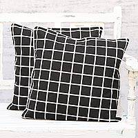Cotton cushion covers, 'Stately' (pair) - Black and White Geometric Cotton Cushion Covers (Pair)