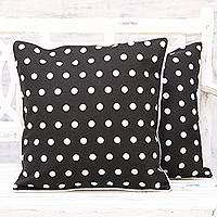 Cotton cushion covers, 'Perky Polka Dots' (pair) - Set of 2 Black and White Polka Dot Cotton Cushion Cover