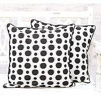 Cotton cushion covers, 'Spherical Delight' (pair) - 2 Handmade Black and White Dotted Cotton Cushion Covers