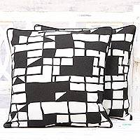 Cotton cushion covers, 'Geometric Windows' (pair) - Pair of 100% Cotton Abstract Black and White Cushion Covers