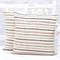 Cushion covers, 'Elegant Contour' (pair) - Pair of Handmade Multicolored Striped Cushion Covers