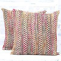 Cushion covers, 'Rainbow Immersion' (pair) - Pair of Handmade Multicolored Cushion Covers from India