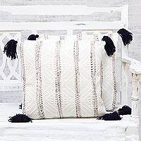 Cushion covers, 'Classy White' (pair) - Pair of Handmade Hand Woven Cushion Covers from India