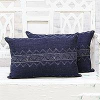 Denim cushion covers, 'Cool Chevron' (pair) - Pair of Midnight Blue Embroidered Denim Cushion Covers