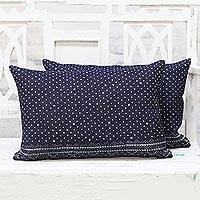 Denim cushion covers, 'Elegant Snowfall' (pair) - Pair of Midnight Blue and Snow White Denim Cushion Covers