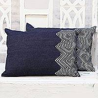 Denim cushion covers, 'Zigzag' (pair) - Indian Denim Cushion Covers with Geometric Motifs (Pair)