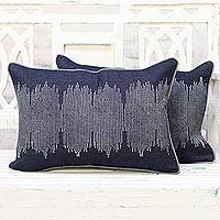 Denim cushion covers, 'Sound Wave' (pair) - Block Printed Denim Cushion Covers Handmade in India (Pair)