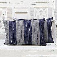 Denim cushion covers, 'Midnight Mood' (pair) - Pair of Jacquard Denim Cushion Covers Handmade in India