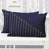 Denim cushion covers, 'Cascade Charm' (pair) - Pair of Midnight Blue Embroidered Denim Cushion Covers