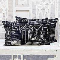Denim cushion covers, 'Patterned Palette' (pair) - Pair of Navy Blue Embroidered Denim Cushion Covers