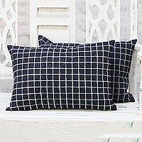 Denim cushion covers, 'Checkerboard' (pair) - Pair of Navy Blue Embroidered Denim Cushion Covers