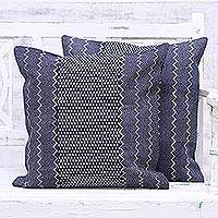 Rayon embroidered denim cushion covers, 'Midnight Waves' (pair) - Two Midnight Embroidered Denim Cushion Covers from India