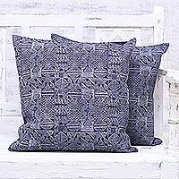 Denim cushion covers, 'Midnight World' (pair) - Two Midnight Block Printed Denim Cushion Covers from India