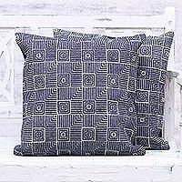 Rayon embroidered denim cushion covers, 'Midnight Harmony' (pair) - Two Square Motif Denim Cushion Covers from India