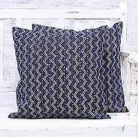 Denim cushion covers, 'Navy Waves' (pair) - Two Wave Motif Embroidered Denim Cushion Covers from India