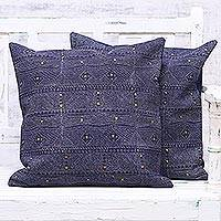 Denim cushion covers, 'Alluring Midnight' (pair) - Two Block Printed Cotton Denim Cushion Covers from India