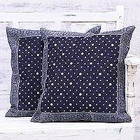 Denim cushion covers, 'Midnight Snowfall' (pair) - Two Printed Denim Cushion Covers in Midnight from India