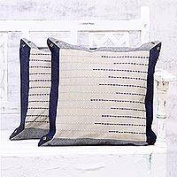 Rayon embroidered denim cushion covers, 'Blue Showers' (pair) - Two Embroidered Striped Denim Cushion Covers from India
