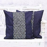 Rayon embroidered denim cushion covers, 'Ornate Geometry' (pair) - Two Denim Cushion Covers with Geometric Motifs from India