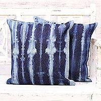 Tie-dyed cotton cushion covers, 'Midnight Lines' (pair) - Two Striped Tie-Dyed Cotton Cushion Covers from India