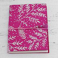 Handmade paper journal, 'Leafy Splendor' - 60-Page Journal with Handmade Paper and Leaf Motifs
