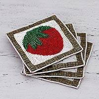 Glass beaded coasters, 'Sweet Strawberry' (set of 4) - Set of Four Glass Beaded Strawberry Coasters from India