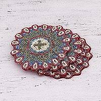 Glass beaded coasters, 'Floral Brilliance' (set of 4) - Set of Four Glass Beaded Coasters from India