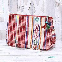 Cotton cosmetic bag, 'Colorful India' - Multicolor Cotton Cosmetic Bag from India