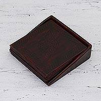 Leather coasters, 'Leafy Intrigue' (set of 4) - Embossed Leather Coasters from India (Set of 4)