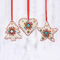Beaded wool ornaments, 'Red and White Christmas' (set of 3) - Set of 3 Beaded Embroidered Wool Felt Ornaments