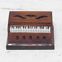 Mahogany and cedar wood mini decorative instrument, 'Harmonium' - Hand Made Decorative Cedar and Mahogany Miniature Harmonium
